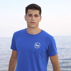 Camiseta azul logo pequeño